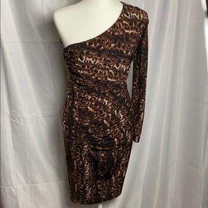 Calvin Klein one shoulder leopard clinched dress